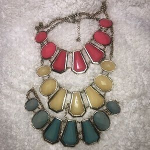 3 pack statement necklaces pink cream turquoise
